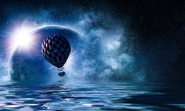 Air balloon in sea Royalty Free Stock Images