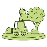 Color agrimotor car in the city with tree and sun. Vector illustration Stock Photos