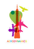 Color airplanes and aircrafts symbols, top view Stock Photography