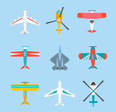 Color airplanes and helicopters icons set Stock Photography