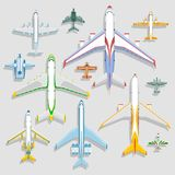 Vector airplanes icons top view vector illustration isolated on background. Travel by airport flight vacation transport. Color airplanes, helicopters icons top stock illustration