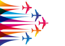 Color airplanes. Silhouettes on white vector illustration