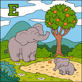 Color alphabet for children: letter E (elephant) Royalty Free Stock Photo