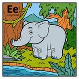 Color alphabet for children, letter E elephant. Vector color alphabet for children, letter E elephant Stock Images