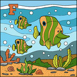 Color alphabet for children: letter F (fish) Royalty Free Stock Images