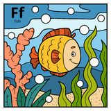 Color alphabet for children, letter F fish. Vector color alphabet for children, letter F fish Royalty Free Stock Images