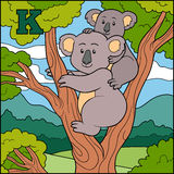 Color alphabet for children: letter K (koala) Stock Photos