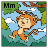 Color alphabet for children, letter M monkey Royalty Free Stock Photos
