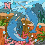 Color alphabet for children: letter N (narwhal) Royalty Free Stock Photo
