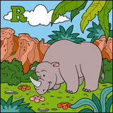 Color alphabet for children: letter R (rhino) Stock Photo