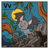 Color alphabet for children, letter V vampire bat. Vector color alphabet for children, letter V vampire bat stock illustration