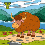 Color alphabet for children: letter Y (yak). Color alphabet for children: letter Y (yak and background Stock Photos