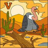 Color alphabet: letter V (vulture) Royalty Free Stock Photo
