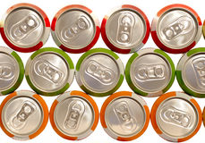 Color aluminum drink cans. Piled Stock Photography