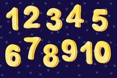 Color amarillo de la burbuja de la fuente divertida de la historieta de números a partir del uno a diez Ilustraci?n del vector ilustración del vector