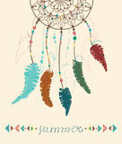 Color American Indians dreamcatcher. With bird feathers and geometrical figures and lettering - summer Royalty Free Stock Photography