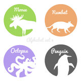 Color animals silhouettes labels in colorful Royalty Free Stock Images