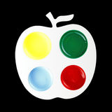 Color Apple pallette. An apple shaped paint palette with primary colors stock photo