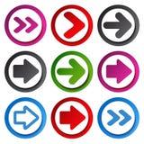 Color arrow  - circular buttons Stock Photos