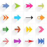 Color arrow icon flat sign with long shadow. 16 arrow flat icon with long shadow. Blue, green, pink, orange, brown, yellow, violet, purple, red, cobalt, magenta Stock Photography