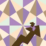 Color Arrow Illustration Pointing Upward with Detached Part like Jigsaw Puzzle Tile Piece. Creative Background Concept. Colorful Arrow Pointing Upward with stock illustration
