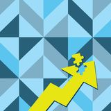 Color Arrow Illustration Pointing Upward with Detached Part like Jigsaw Puzzle Tile Piece. Creative Background Concept. Colorful Arrow Pointing Upward with vector illustration