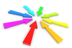 Color arrow pointing inwards. Stock Photo