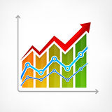 Color arrow up diagram on white Royalty Free Stock Photo