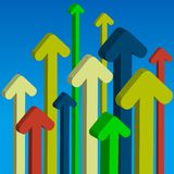 Color arrows. Rising up on blue background Stock Photography