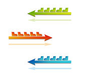 Color arrows with boots Royalty Free Stock Photography