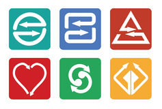 Color arrows icon set. Abstract illustration for web graphics Royalty Free Stock Images