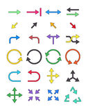 Color arrows icons set. Set of 24 color arrows icons Stock Images