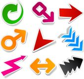 Color arrows sticker set. Royalty Free Stock Photo
