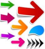 Color arrows sticker set. Stock Photos