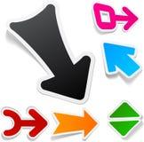 Color arrows sticker set. Royalty Free Stock Photo