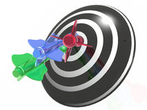 Color arrows on the target Royalty Free Stock Images