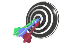 Color arrows on the target Royalty Free Stock Image