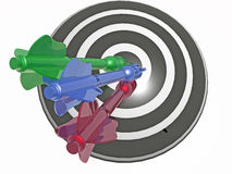 Color arrows on the target. White background, 3D illustration Royalty Free Stock Image