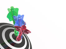 Color arrows on the target. White background, 3D illustration Stock Photos