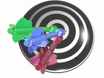 Color arrows on the target. White background, 3D illustration Royalty Free Stock Images