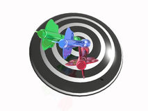 Color arrows on the target. White background, 3D illustration Stock Photography