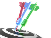 Color arrows on the target. White background, 3D illustration Stock Images