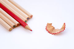 Color art wooden pencils and shavings Royalty Free Stock Photo