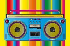 Color asombroso de la cinta de casete del ghettoblaster del vintage Imágenes de archivo libres de regalías