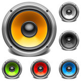 Color audio speakers. Set of 6 color audio speakers Stock Photography