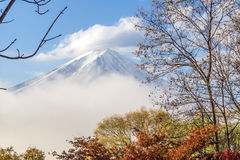 Color of autumn leaves  and Mt.Fuji with misty in the morning at Royalty Free Stock Photo