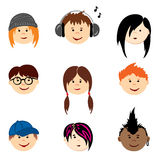 Color Avatars - Teenagers Royalty Free Stock Images