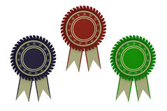 Color award ribbon rosette Stock Photos