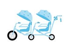 Color azul de la bicicleta en tándem para los niños, ejemplos del vector Fotos de archivo libres de regalías