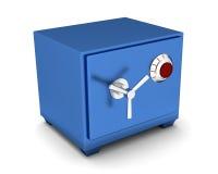 Color azul de la caja de depósito de seguridad en un fondo blanco 3d rinden Foto de archivo